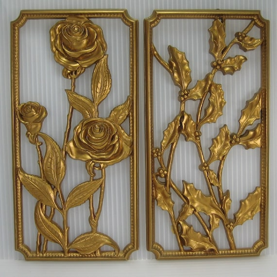 Gold Plastic Wall Decor Flowers Roses And By