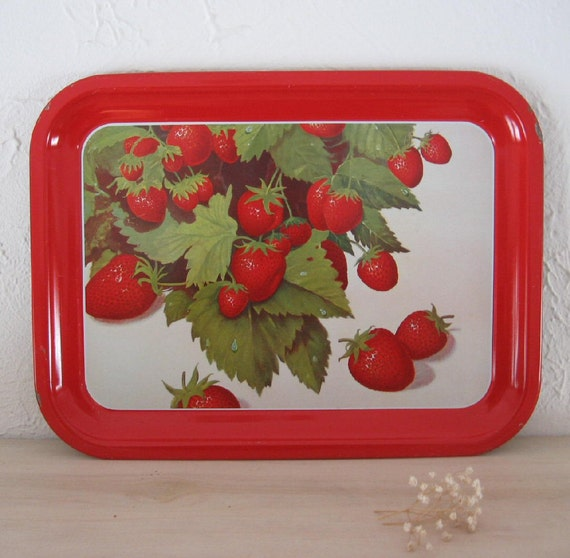 Summer strawberry metal serving tray juicy red