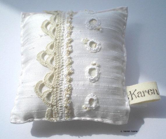 Embroidered Silk Pin Cushion