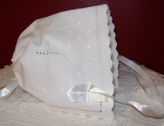 Keepsake Magic Hankie Christening Bonnet By Nanaluluslinens