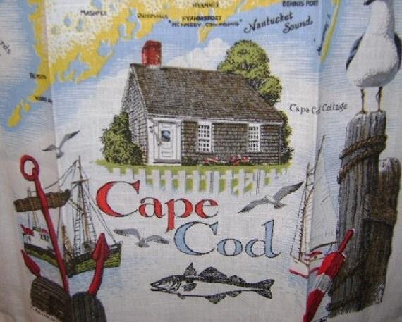 Retro Cape Cod Massachusetts Linen Souvenir Kitchen Towel Great Graphics