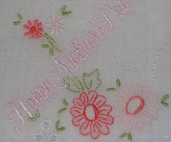 HAPPY MOTHERS DAY Hankie Handkerchief Pretty in Pink