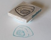 Smiling Sushi Roll Hand Carved Stamp