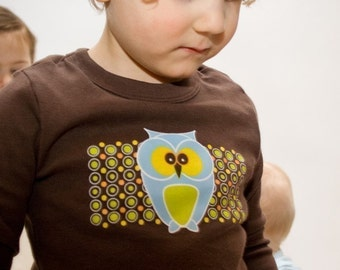 Funky Owl Toddler T-shirt, Brown Long Sleeve