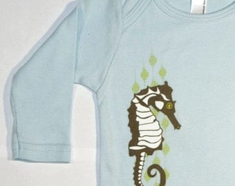 Long Sleeve Blue One-Piece featuring Seahorse design