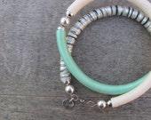 silver and aqua mixed media tube necklace