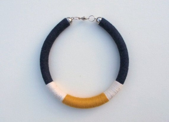 navy blue necklace, white necklace, yellow necklace, tube necklace, mixed media jewelry, tube choker