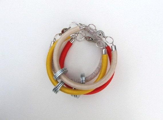 coral red bracelet, yellow, bracelet, beige bracelet, linen bracelet, lixed media bracelet, tube bracelet