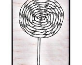 Mounted Rubber Stamp LOLLIPOP - Candy Carnival Birthday Fun Sugar Sweets