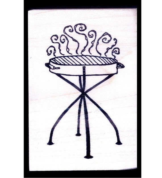 Retro Summer BARBECUE BBQ GRILL- Mounted Rubber Stamp