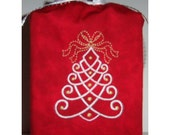 Elegant Christmas Tree Embroidered Tissue Cover (Red) - FREE SHIPPING