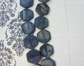 Dark Blue 16x18mm Hexagon Shells - Full Strand (21 shells)