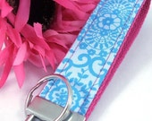 Wristlet Keychain Key Fob KEYLETTE...Pretty Please Carolina Blue Fuchsia