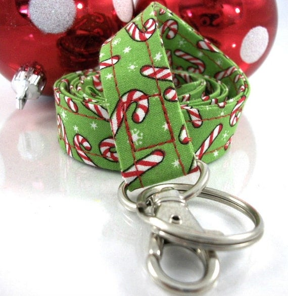 Lanyard ID Badge Holder...Christmas Candy Canes