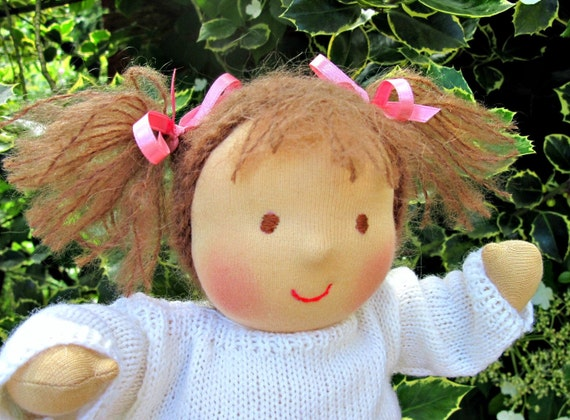 13 inch Waldorf Baby Doll with brown hair