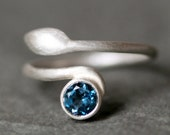 Leaf Ring in Sterling Silver and London Blue Topaz