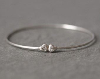 Baby Skull Bangle with Diamonds in Sterling Silver
