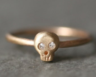 Baby Skull Ring in 14k Gold with Diamonds