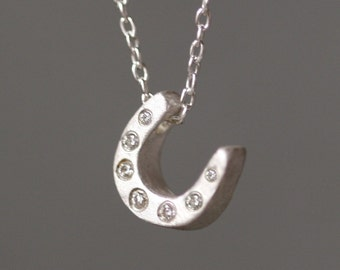 Mini Horseshoe Necklace in Sterling Silver with 7 Diamonds