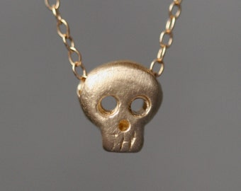 Baby Skull Necklace in 14k Gold