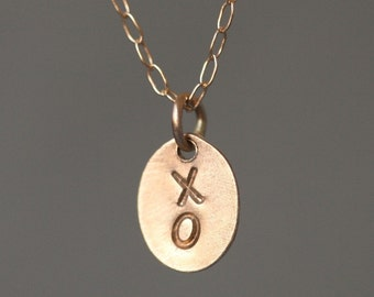 Tiny Initial Oval Necklace in 14K Gold