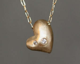 Puffy Heart Necklace in 14k Gold with 2 Diamonds