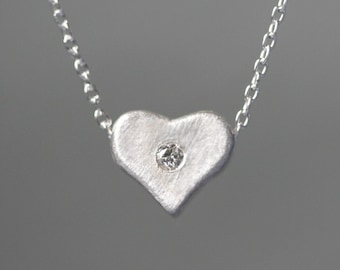 Curved Heart Pendant in Sterling Silver with Diamond