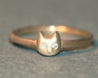 Baby Kitten Ring in 14K Gold with Diamonds