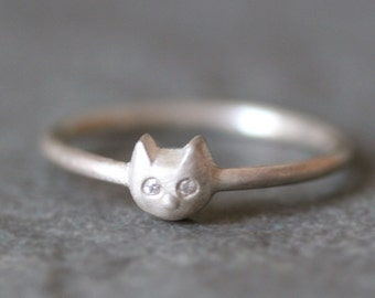 Baby Kitten Ring in Sterling Silver with Diamonds