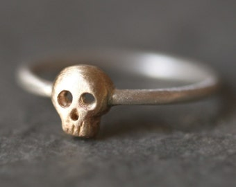 Baby Skull Ring in 14K Gold and Sterling Silver