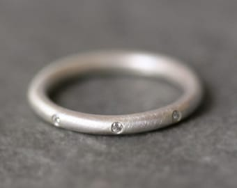 8 Diamond Sterling Silver Ring