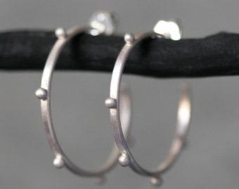 Small Beaded Hoop Earrings in Sterling Silver