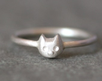 Baby Kitten Ring in Sterling Silver