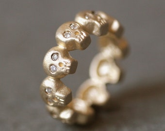 Baby Skull Eternity Band Ring in 14K Gold with Diamonds UNISEX