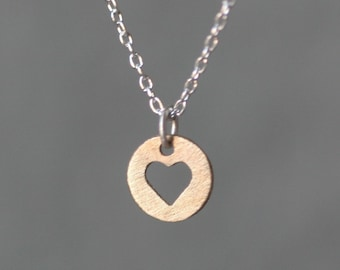 Heart Cutout Necklace in 14K Gold and Sterling Silver