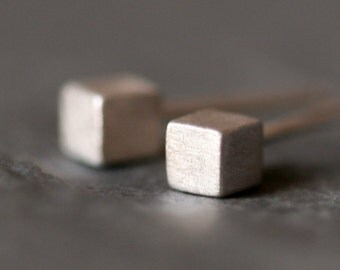 Tiny Cube Stud Earrings in Sterling Silver