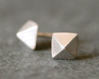 Low Pyramid Stud Earrings in Sterling Silver