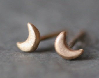 Tiny Moon Stud Earrings in 14k Gold