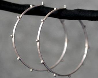 Large Beaded Hoop Earrings in Sterling Silver