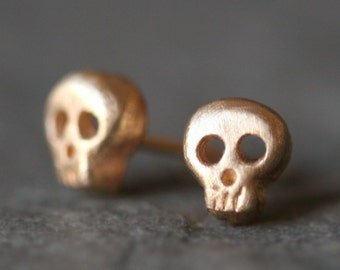 Baby Skull Earrings in 14K Gold