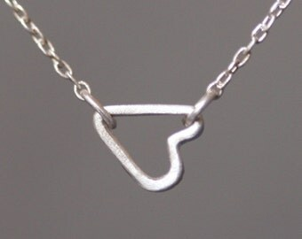 Tiny Sideways Heart Necklace in Sterling Silver