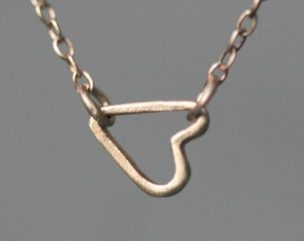 Tiny Sideways Heart Necklace in 14K Gold