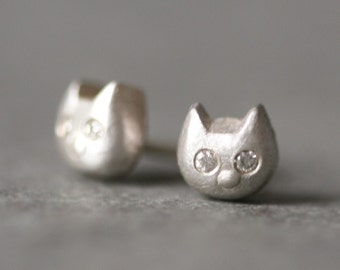 Baby Kitten Stud Earrings With Diamonds in Sterling Silver