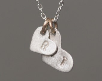 Double Heart Initial Necklace in Sterling Silver and 14K