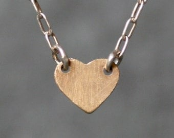 Baby Heart Necklace in Sterling Silver and 14K Gold