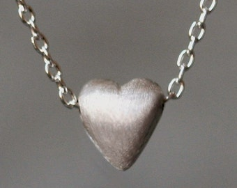 Tiny Puffy Heart Necklace in Sterling Silver
