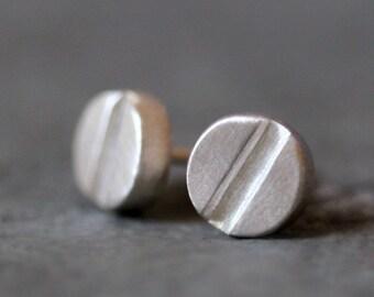 Screw Head Stud Earrings in Sterling Silver