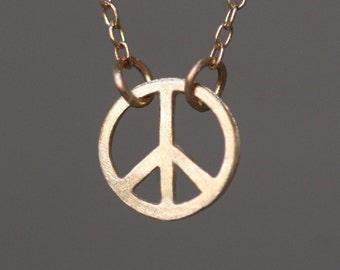 Tiny Round Peace Sign Necklace in 14K Gold