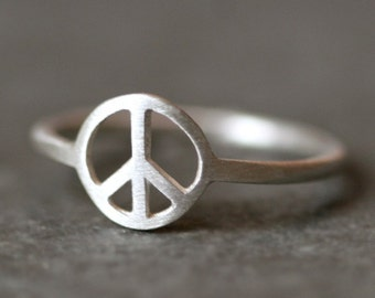 Peace Sign Ring in Sterling Silver