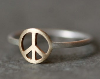 Peace Sign Ring in 14k Gold and Sterling Silver